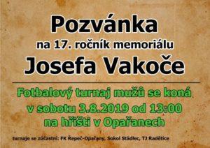 Pozvánka na 17. ročník Memoriálu Josefa Vakoče