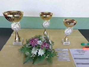 Poháry pro zúčastněné na turnaji 18. ročníku Memoriálu J. Vakoče a kytice na hřbitov