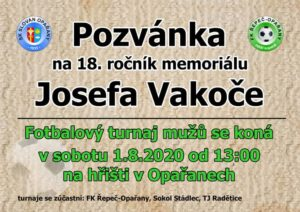 Pozvánka na 18. ročník Memoriálu Josefa Vakoče