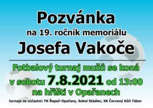 Pozvánka na 19. ročník Memoriálu Josefa Vakoče